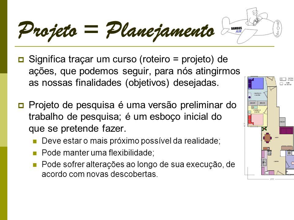Projeto = Planejamento Significa traçar um curso (roteiro = projeto) de ações, que podemos seguir, para nós atingirmos as nossas finalidades (objetivos) desejadas.