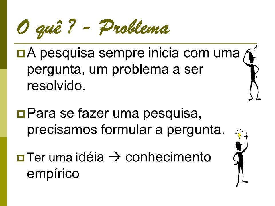O quê .- Problema A pesquisa sempre inicia com uma pergunta, um problema a ser resolvido.