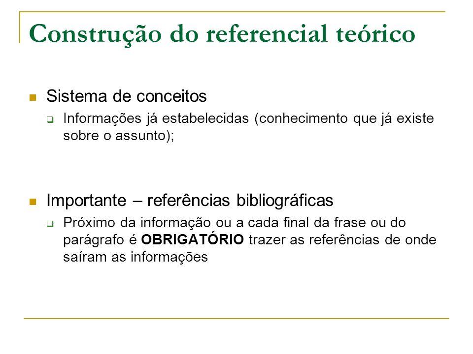 Construção do referencial teórico Sistema de conceitos Informações já estabelecidas (conhecimento que já existe sobre o assunto); Importante – referên