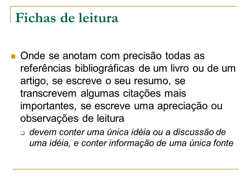 Fichas de leitura Onde se anotam com precisão todas as referências bibliográficas de um livro ou de um artigo, se escreve o seu resumo, se transcrevem