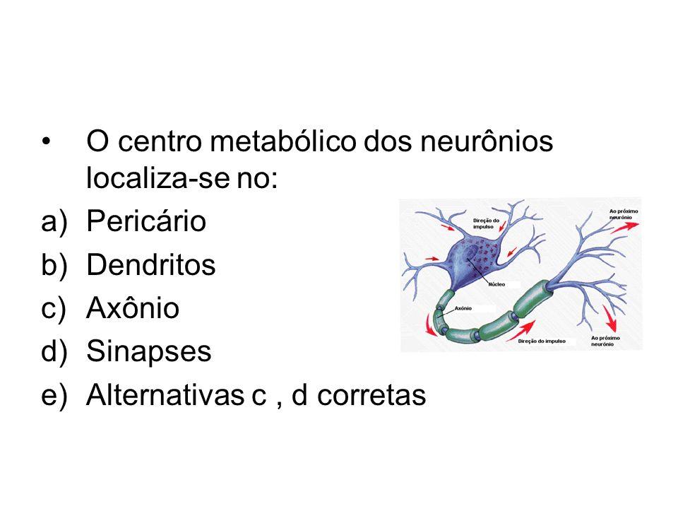 O centro metabólico dos neurônios localiza-se no: a)Pericário b)Dendritos c)Axônio d)Sinapses e)Alternativas c, d corretas