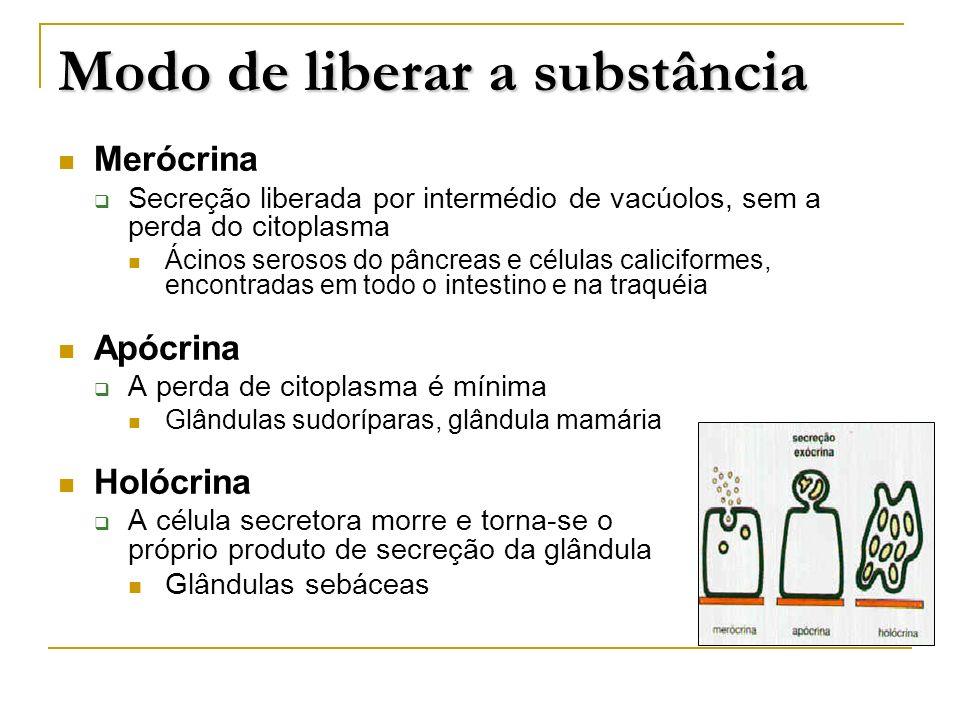 Merócrina Secreção liberada por intermédio de vacúolos, sem a perda do citoplasma Ácinos serosos do pâncreas e células caliciformes, encontradas em to