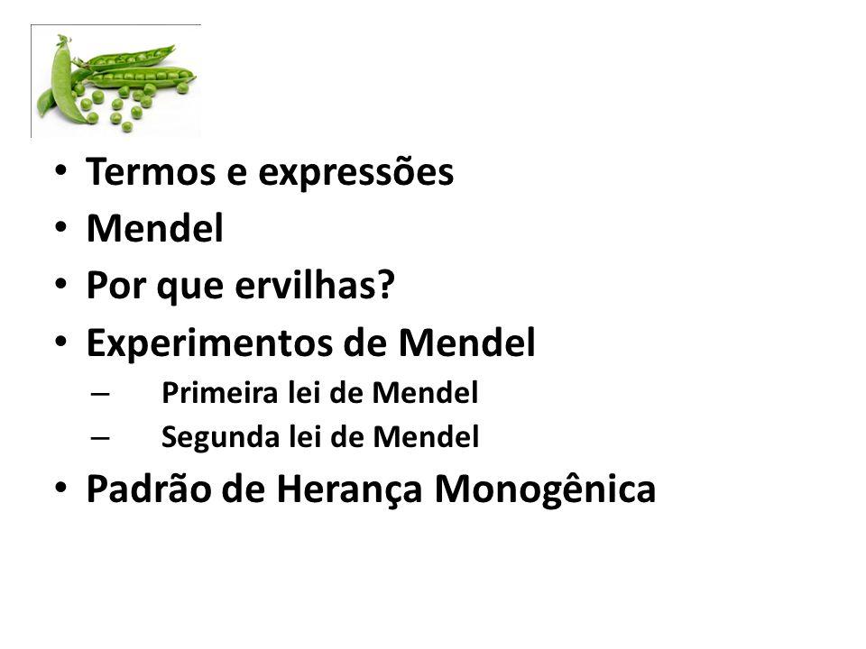 Termos e expressões Mendel Por que ervilhas? Experimentos de Mendel – Primeira lei de Mendel – Segunda lei de Mendel Padrão de Herança Monogênica