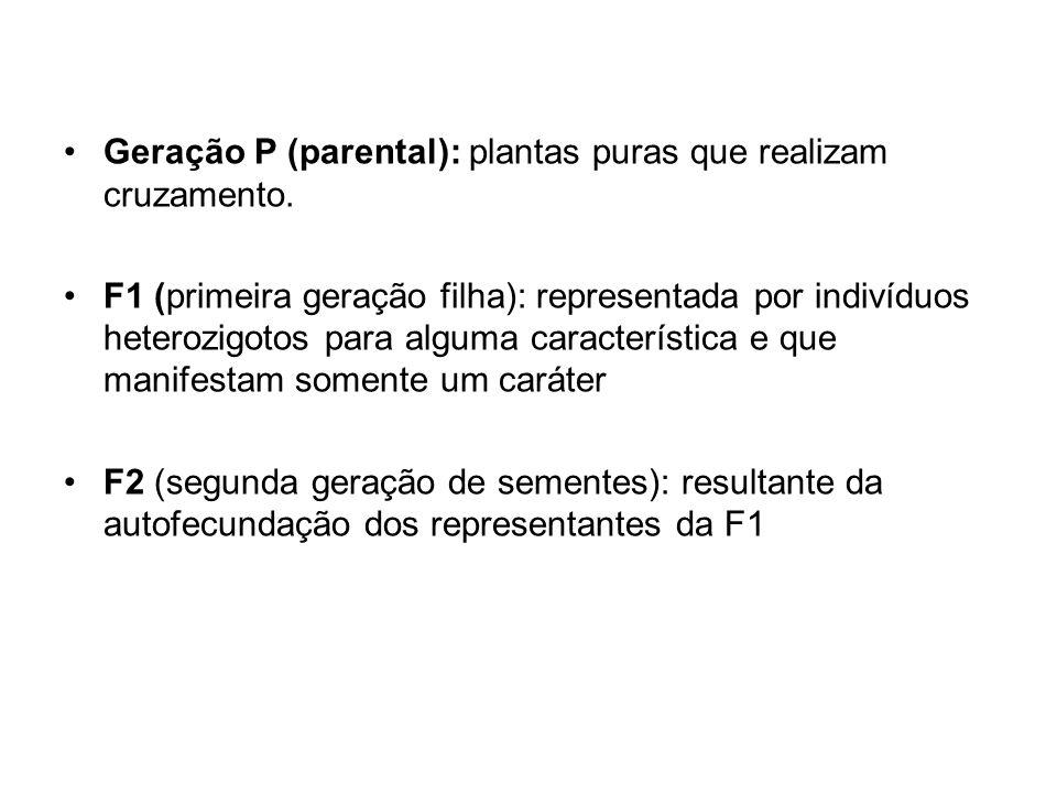 Geração P (parental): plantas puras que realizam cruzamento. F1 (primeira geração filha): representada por indivíduos heterozigotos para alguma caract