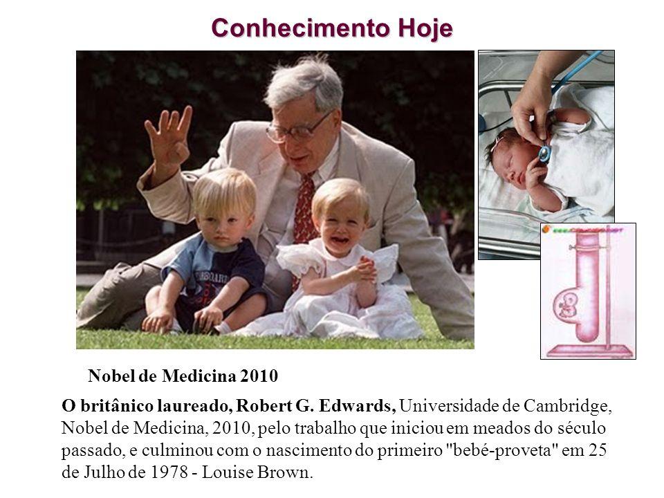 Nobel de Medicina 2010 O britânico laureado, Robert G. Edwards, Universidade de Cambridge, Nobel de Medicina, 2010, pelo trabalho que iniciou em meado