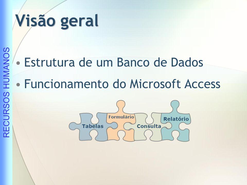 RECURSOS HUMANOS Conceitos: Banco de Dados É uma coleção de dados inter-relacionados representando informações sobre um domínio específico.