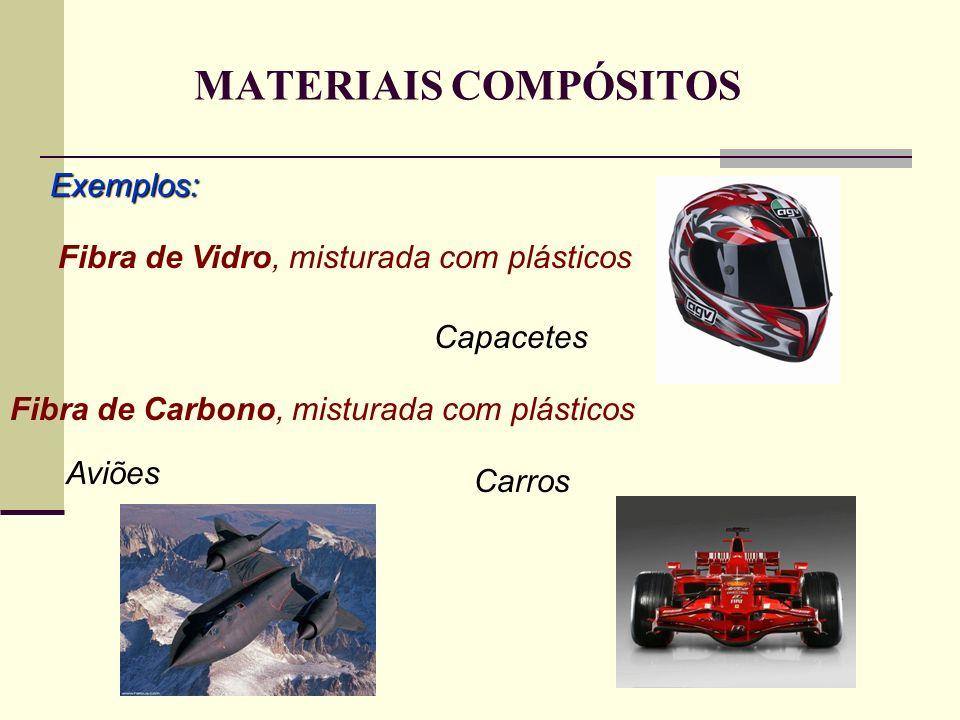 MATERIAIS COMPÓSITOS Exemplos: Fibra de Vidro, misturada com plásticos Capacetes Fibra de Carbono, misturada com plásticos Aviões Carros