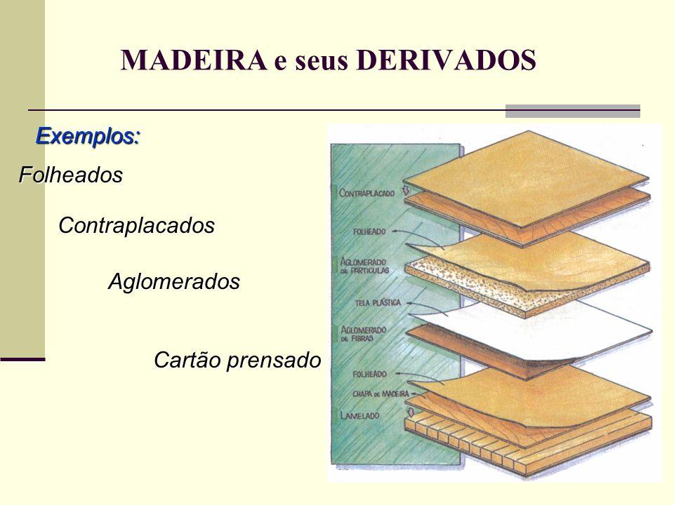 MADEIRA e seus DERIVADOS Exemplos: Folheados Contraplacados Aglomerados Cartão prensado