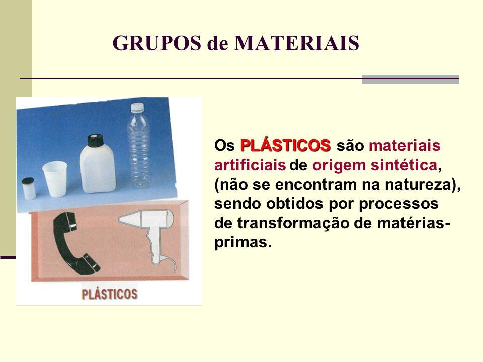 GRUPOS de MATERIAIS Os P PP PLÁSTICOS são materiais artificiais de origem sintética, (não se encontram na natureza), sendo obtidos por processos de tr