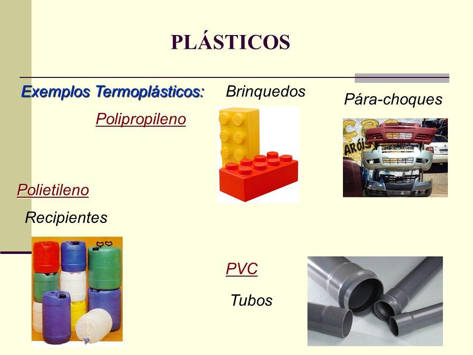 PLÁSTICOS Exemplos Termoplásticos: Polipropileno Brinquedos Polietileno Pára-choques Recipientes PVC Tubos