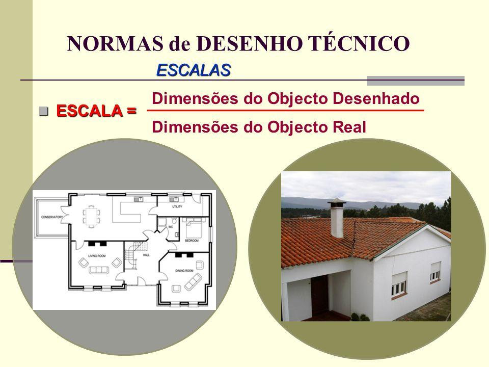 NORMAS de DESENHO TÉCNICO ESCALAS ESCALA = Dimensões do Objecto Desenhado Dimensões do Objecto Real