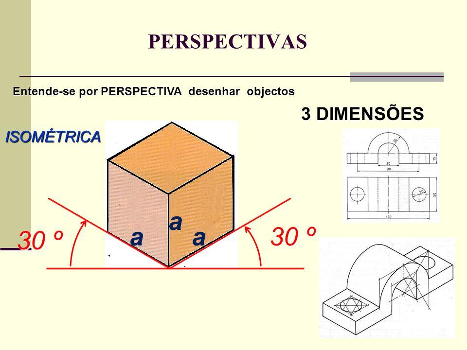 PERSPECTIVAS ISOMÉTRICA Entende-se por PERSPECTIVA desenhar objectos 3 DIMENSÕES a 30 º 30 º aa