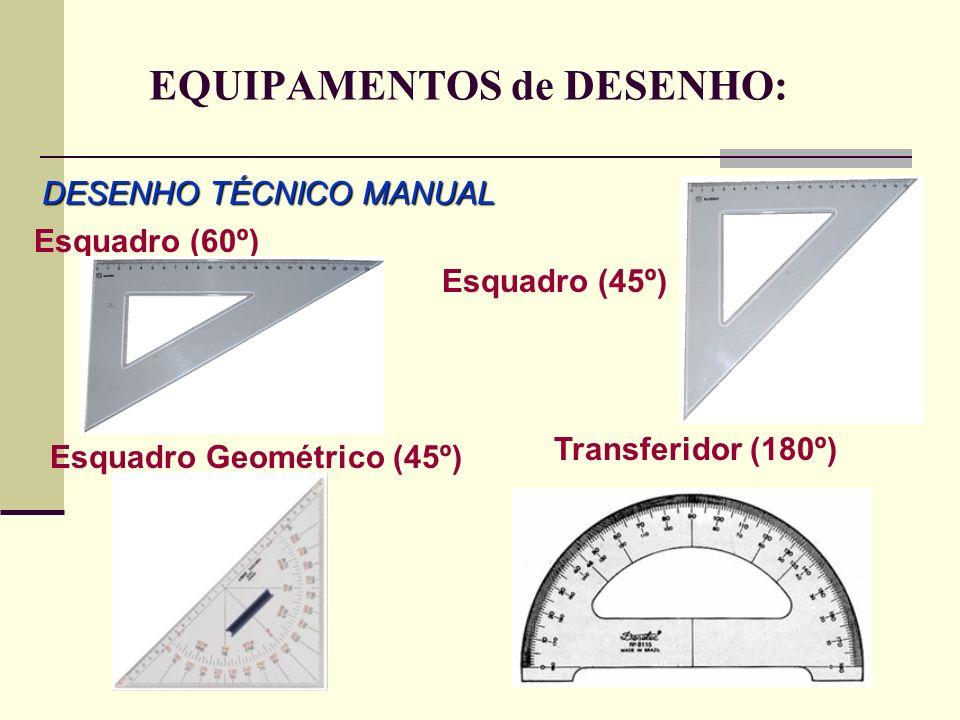 EQUIPAMENTOS de DESENHO: DESENHO TÉCNICO MANUAL Esquadro (60º) Esquadro (45º) Esquadro Geométrico (45º) Transferidor (180º)