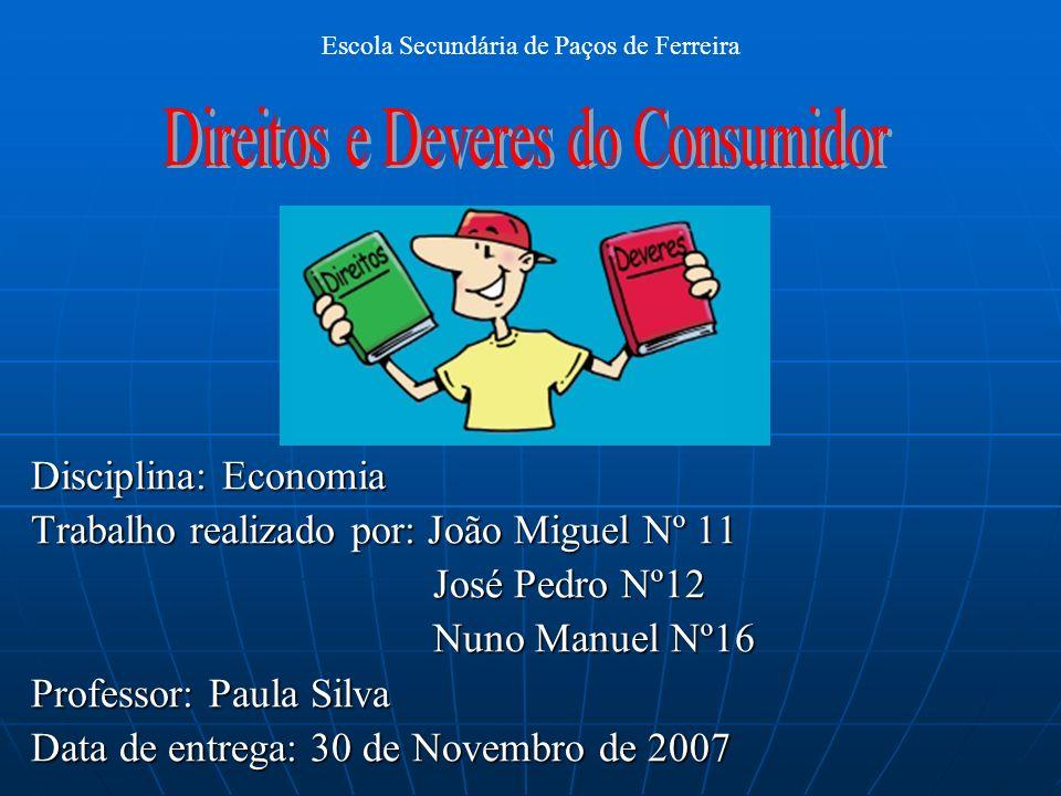Disciplina: Economia Trabalho realizado por: João Miguel Nº 11 José Pedro Nº12 José Pedro Nº12 Nuno Manuel Nº16 Nuno Manuel Nº16 Professor: Paula Silv