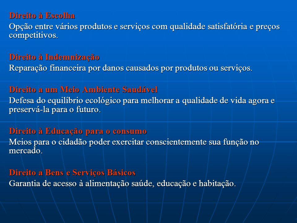 Direito à Escolha Opção entre vários produtos e serviços com qualidade satisfatória e preços competitivos. Direito à Indemnização Reparação financeira