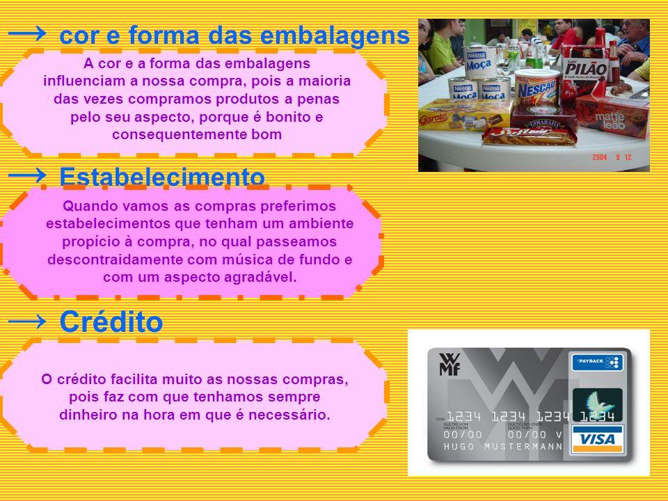 c or e forma das embalagens E stabelecimento Crédito A cor e a forma das embalagens influenciam a nossa compra, pois a maioria das vezes compramos pro