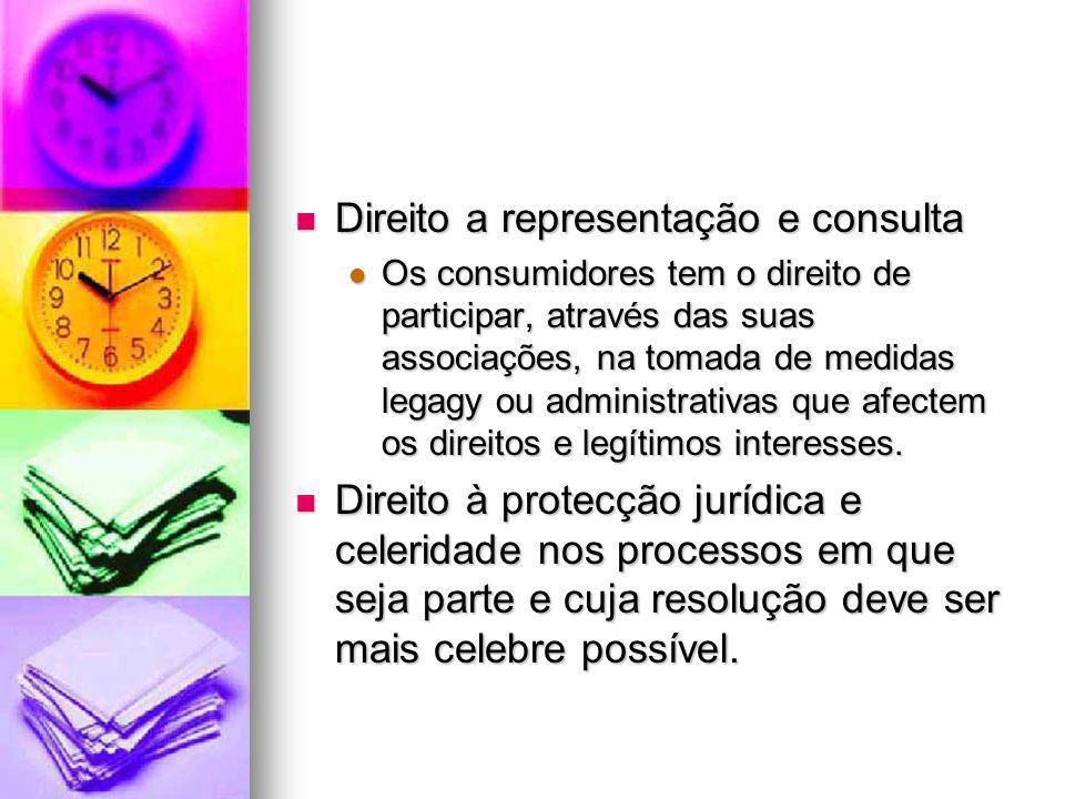 Direito a representação e consulta Direito a representação e consulta Os consumidores tem o direito de participar, através das suas associações, na to