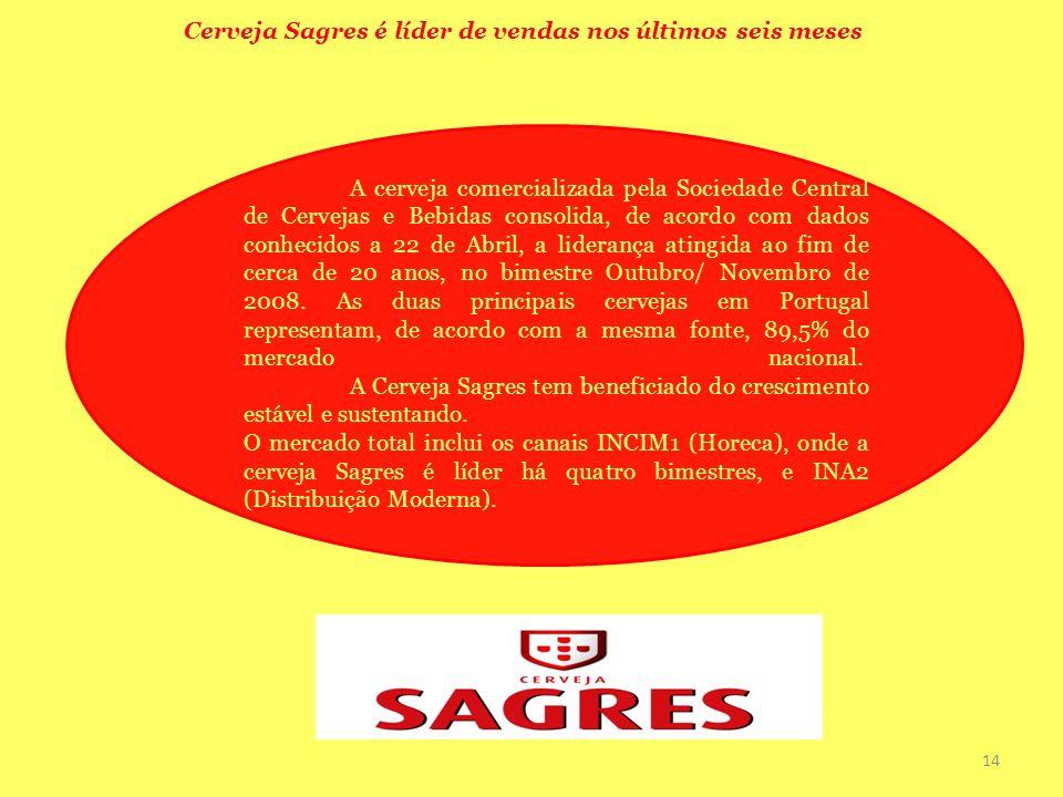 Cerveja Sagres é líder de vendas nos últimos seis meses A cerveja comercializada pela Sociedade Central de Cervejas e Bebidas consolida, de acordo com