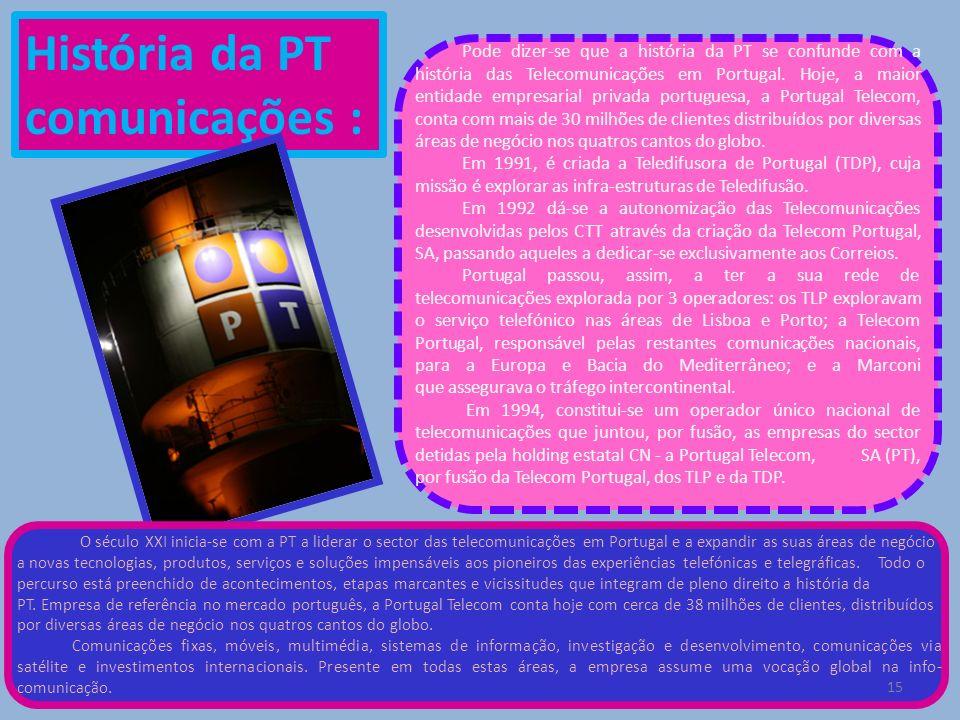 História da PT comunicações : Pode dizer-se que a história da PT se confunde com a história das Telecomunicações em Portugal. Hoje, a maior entidade e