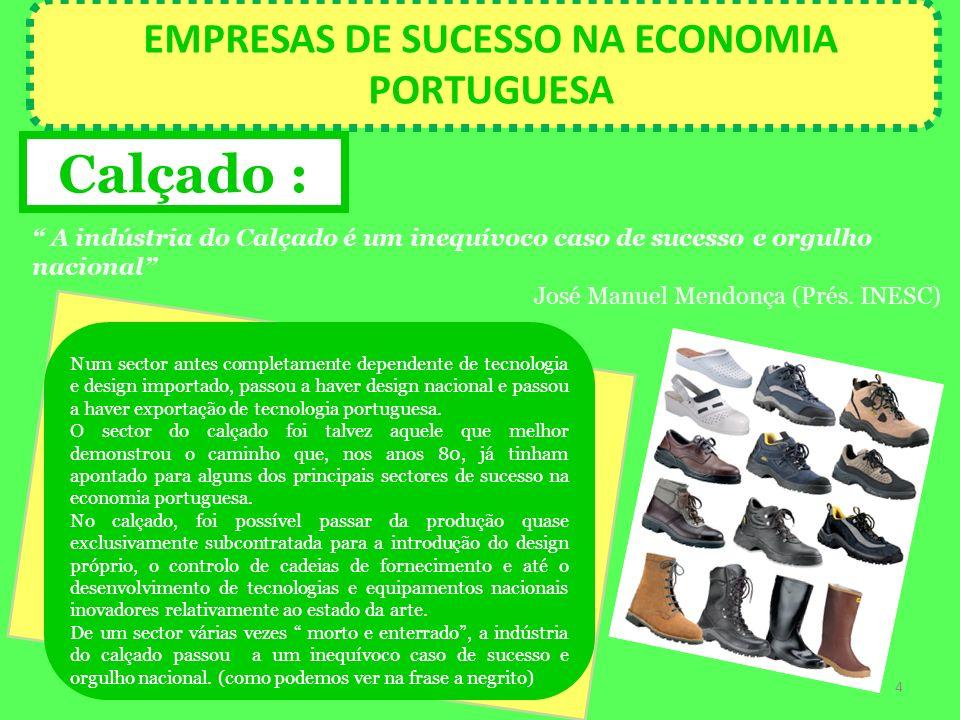 EMPRESAS DE SUCESSO NA ECONOMIA PORTUGUESA Calçado : A indústria do Calçado é um inequívoco caso de sucesso e orgulho nacional José Manuel Mendonça (P