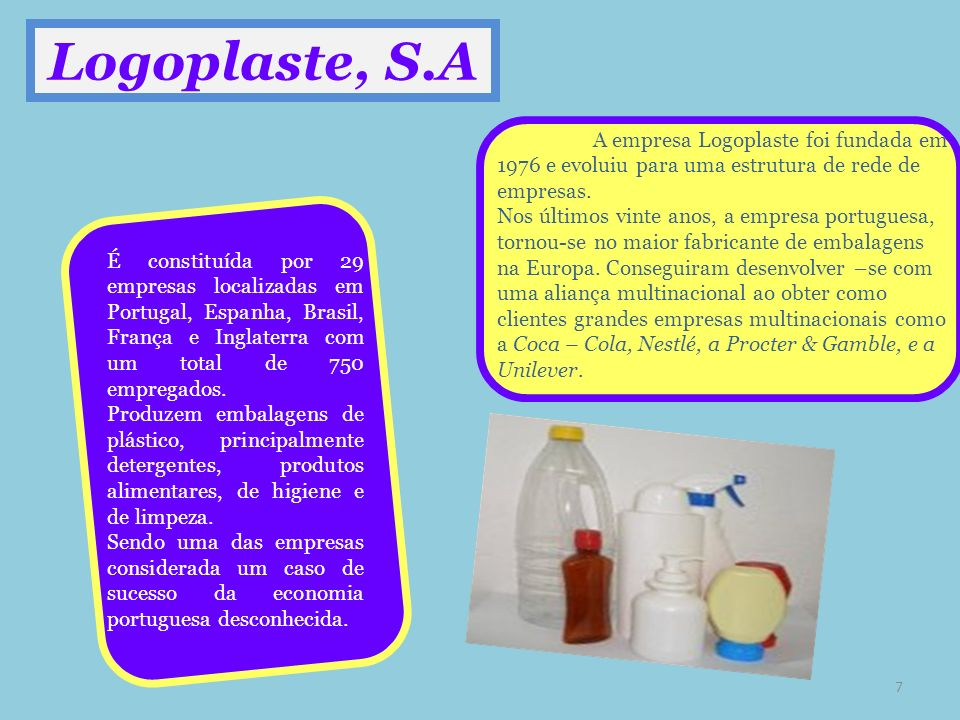 Logoplaste, S.A A empresa Logoplaste foi fundada em 1976 e evoluiu para uma estrutura de rede de empresas. Nos últimos vinte anos, a empresa portugues