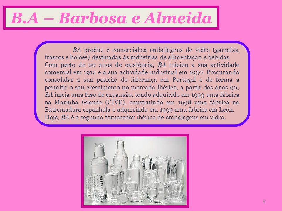 B.A – Barbosa e Almeida BA produz e comercializa embalagens de vidro (garrafas, frascos e boiões) destinadas ás indústrias de alimentação e bebidas. C