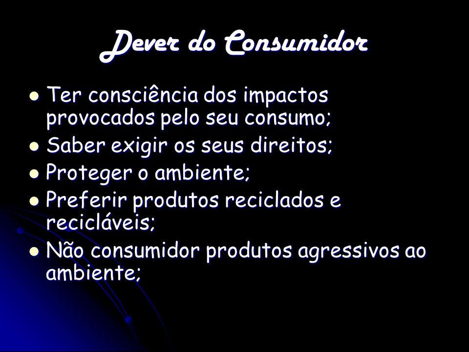Dever do Consumidor Ter consciência dos impactos provocados pelo seu consumo; Ter consciência dos impactos provocados pelo seu consumo; Saber exigir o