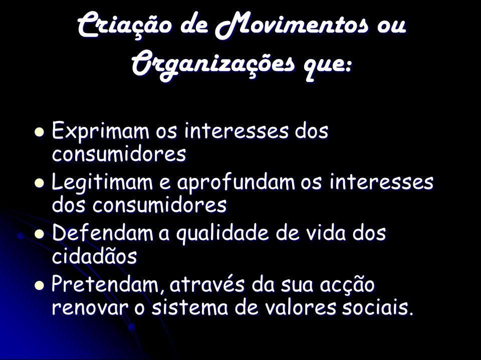 Criação de Movimentos ou Organizações que: Exprimam os interesses dos consumidores Exprimam os interesses dos consumidores Legitimam e aprofundam os i