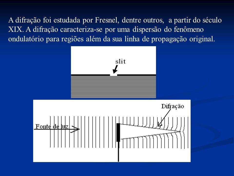 A difração foi estudada por Fresnel, dentre outros, a partir do século XIX. A difração caracteriza-se por uma dispersão do fenômeno ondulatório para r