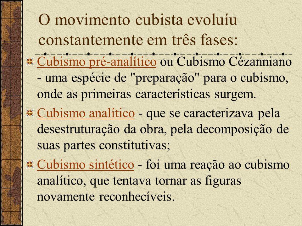 O movimento cubista evoluíu constantemente em três fases: Cubismo pré-analíticoCubismo pré-analítico ou Cubismo Cézanniano - uma espécie de
