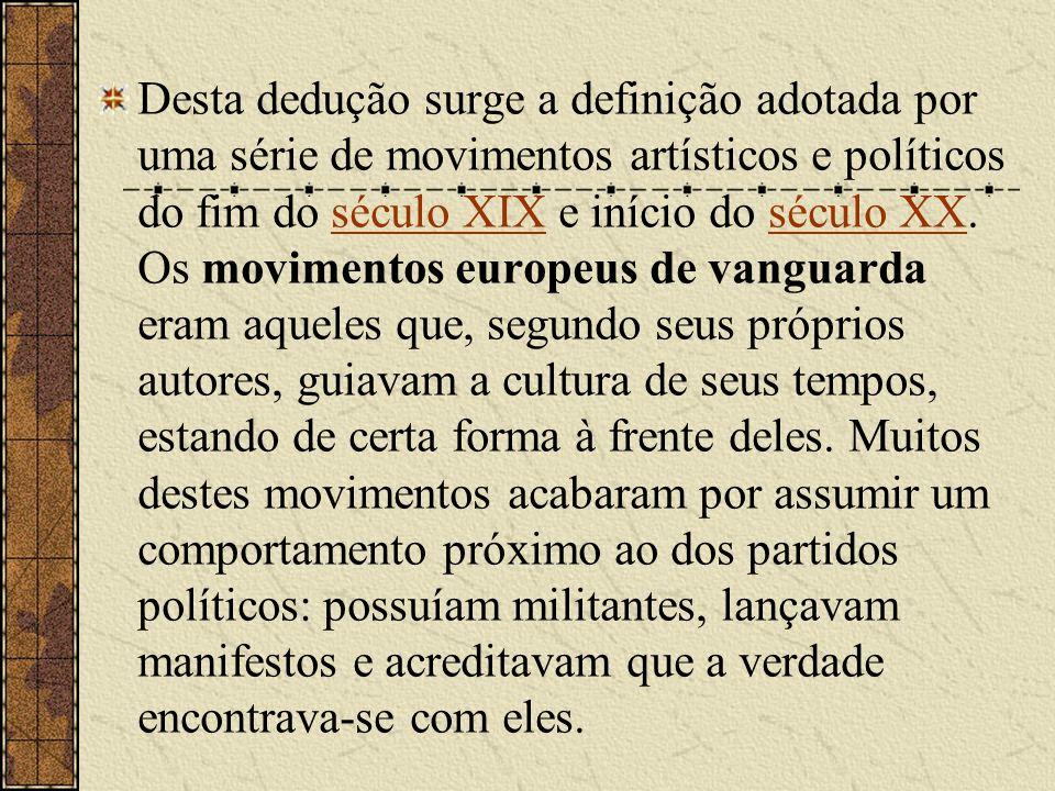 Desta dedução surge a definição adotada por uma série de movimentos artísticos e políticos do fim do século XIX e início do século XX. Os movimentos e