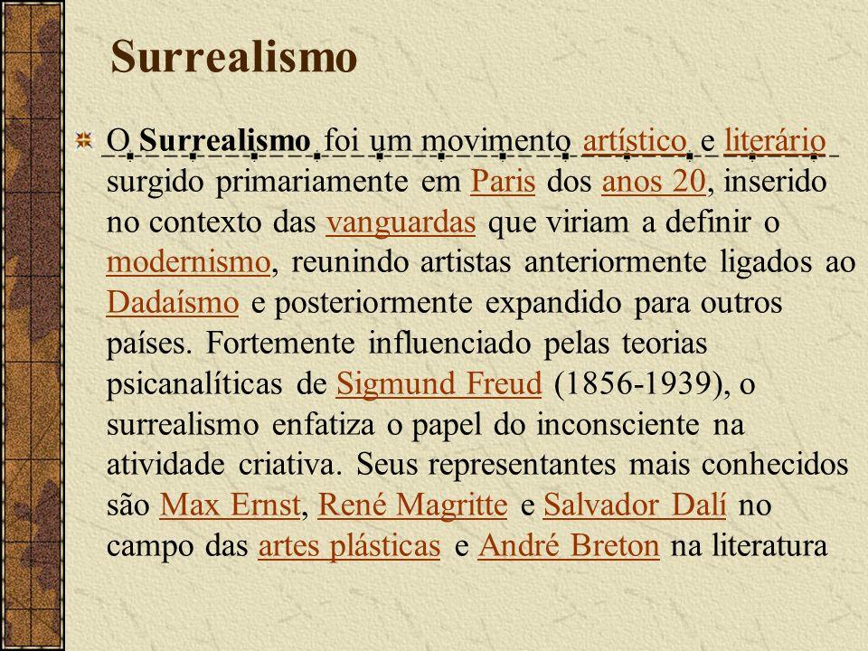 Surrealismo O Surrealismo foi um movimento artístico e literário surgido primariamente em Paris dos anos 20, inserido no contexto das vanguardas que v