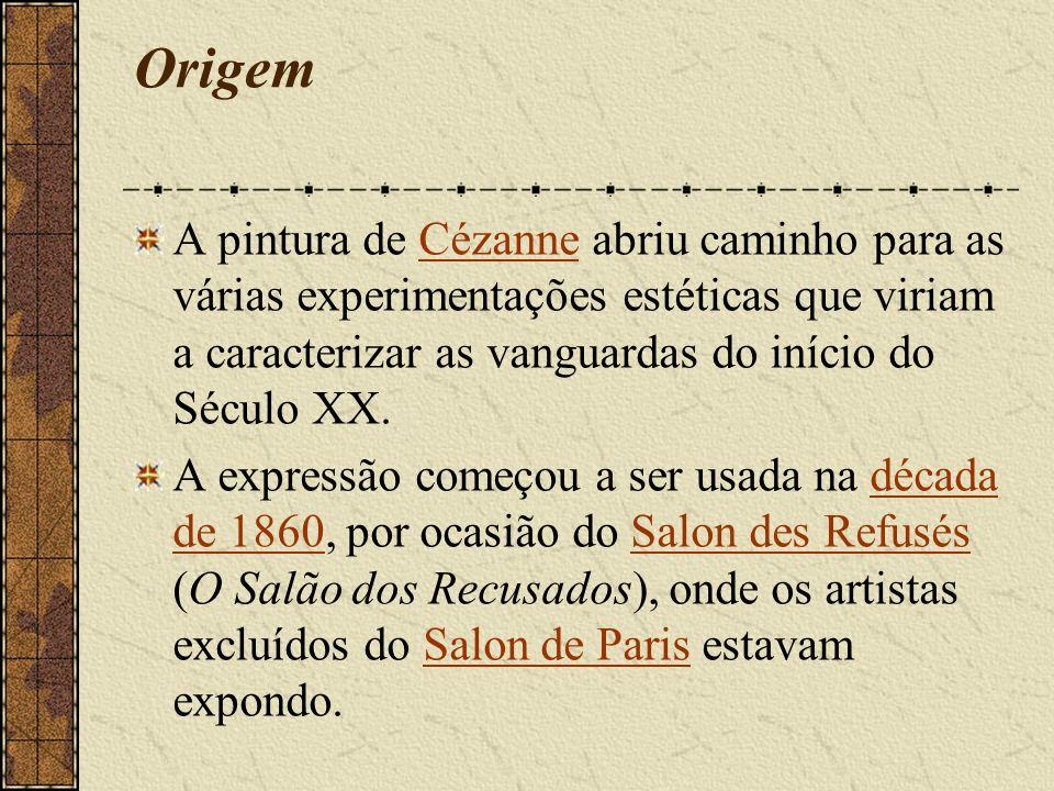 Origem A pintura de Cézanne abriu caminho para as várias experimentações estéticas que viriam a caracterizar as vanguardas do início do Século XX.Cézanne A expressão começou a ser usada na década de 1860, por ocasião do Salon des Refusés (O Salão dos Recusados), onde os artistas excluídos do Salon de Paris estavam expondo.década de 1860Salon des RefusésSalon de Paris