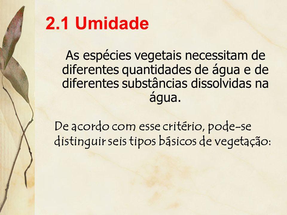 2. Fatores Físicos ou Abióticos Correspondem aos fatores do meio físico que interferem nos vegetais. Entre os principais fatores abióticos, podem ser