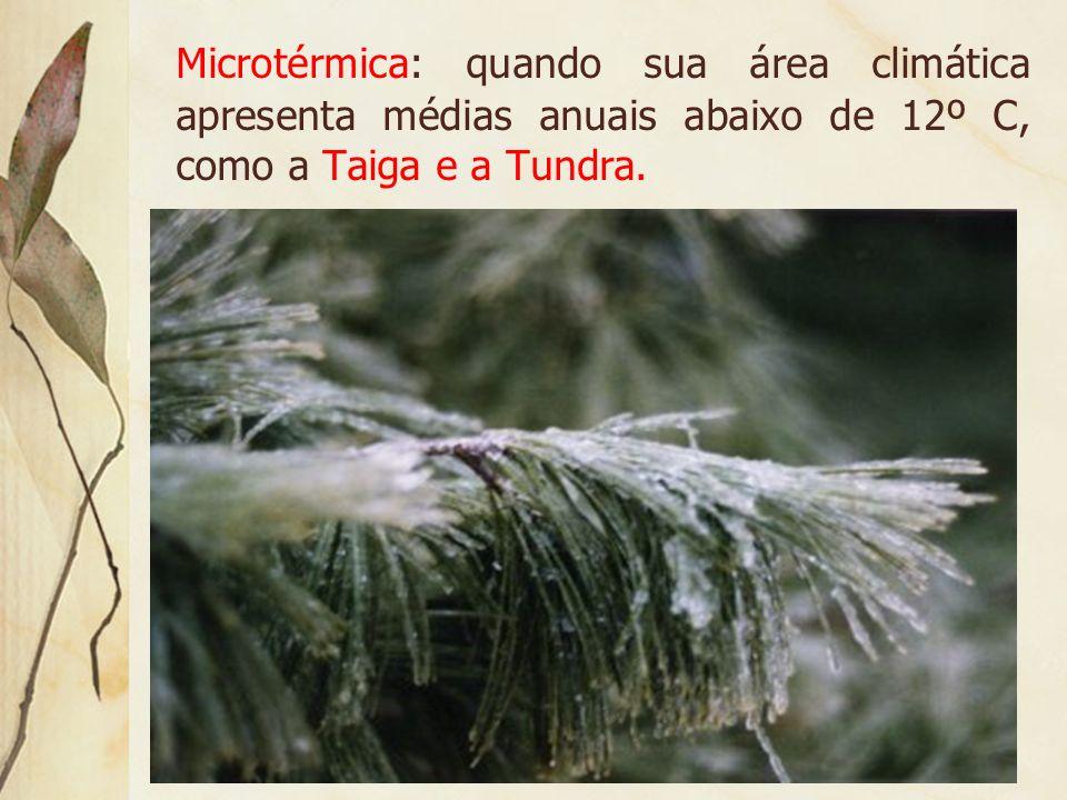 Mesotérmica: quando as espécies vegetais ocupam a área climática onde a temperatura varia de 12º a 17º C de média anual, como as Florestas Temperadas.