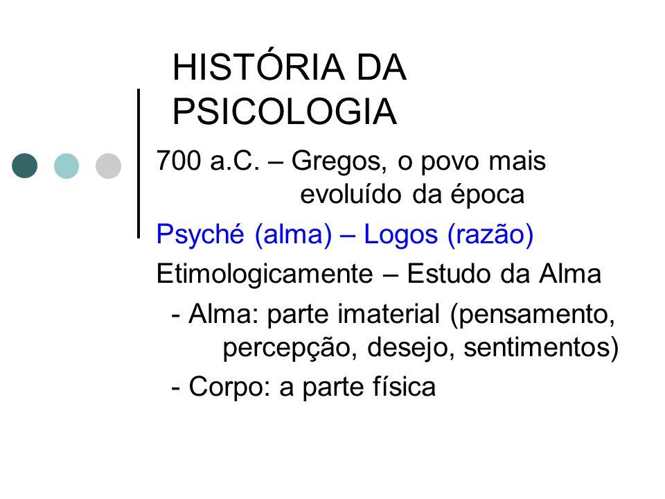 HISTÓRIA DA PSICOLOGIA 700 a.C. – Gregos, o povo mais evoluído da época Psyché (alma) – Logos (razão) Etimologicamente – Estudo da Alma - Alma: parte