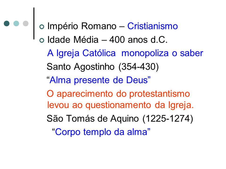 Império Romano – Cristianismo Idade Média – 400 anos d.C. A Igreja Católica monopoliza o saber Santo Agostinho (354-430) Alma presente de Deus O apare