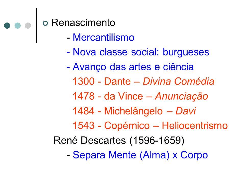 Renascimento - Mercantilismo - Nova classe social: burgueses - Avanço das artes e ciência 1300 - Dante – Divina Comédia 1478 - da Vince – Anunciação 1