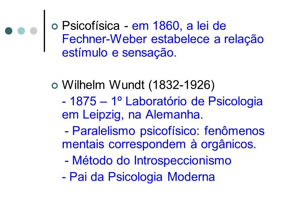 Psicofísica - em 1860, a lei de Fechner-Weber estabelece a relação estímulo e sensação. Wilhelm Wundt (1832-1926) - 1875 – 1º Laboratório de Psicologi
