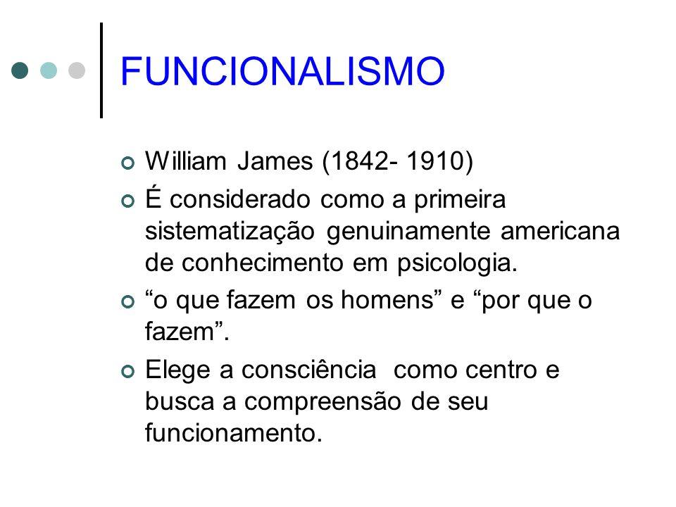 FUNCIONALISMO William James (1842- 1910) É considerado como a primeira sistematização genuinamente americana de conhecimento em psicologia. o que faze
