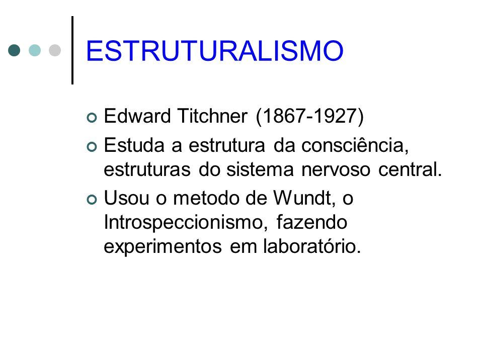 ESTRUTURALISMO Edward Titchner (1867-1927) Estuda a estrutura da consciência, estruturas do sistema nervoso central. Usou o metodo de Wundt, o Introsp