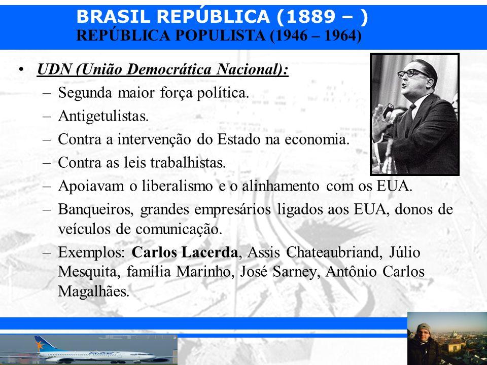 BRASIL REPÚBLICA (1889 – ) Prof. Iair iair@pop.com.br REPÚBLICA POPULISTA (1946 – 1964)