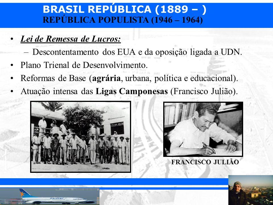 BRASIL REPÚBLICA (1889 – ) Prof. Iair iair@pop.com.br REPÚBLICA POPULISTA (1946 – 1964) Lei de Remessa de Lucros: –Descontentamento dos EUA e da oposi