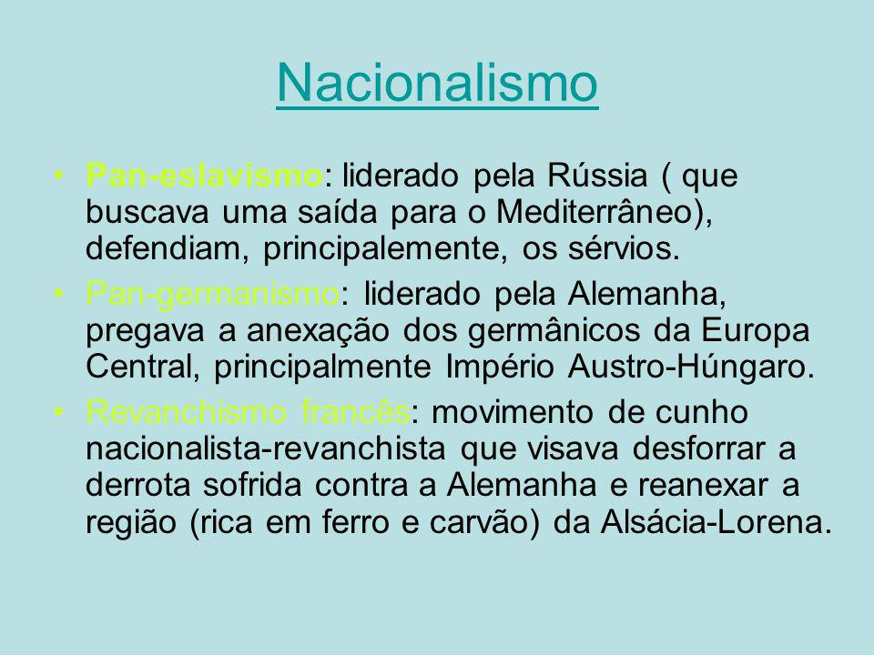 Nacionalismo Pan-eslavismo: liderado pela Rússia ( que buscava uma saída para o Mediterrâneo), defendiam, principalemente, os sérvios. Pan-germanismo: