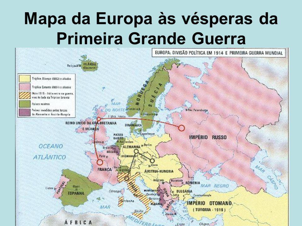 Mapa da Europa às vésperas da Primeira Grande Guerra