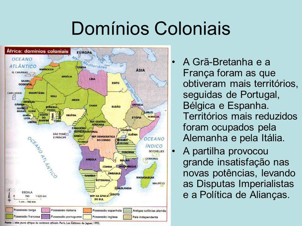 Domínios Coloniais A Grã-Bretanha e a França foram as que obtiveram mais territórios, seguidas de Portugal, Bélgica e Espanha. Territórios mais reduzi