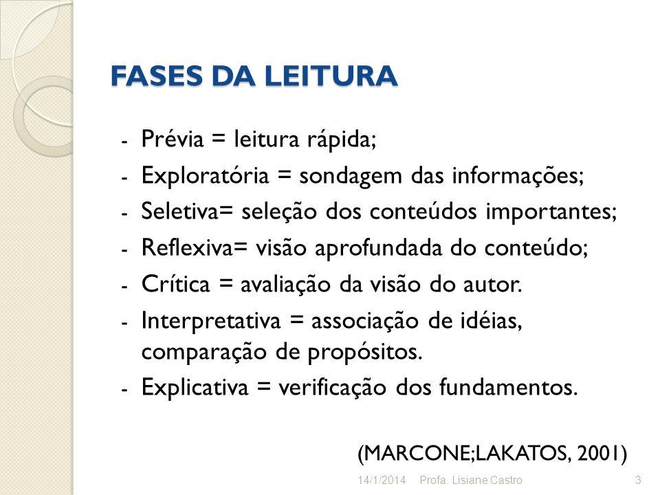 FASES DA LEITURA - Prévia = leitura rápida; - Exploratória = sondagem das informações; - Seletiva= seleção dos conteúdos importantes; - Reflexiva= vis
