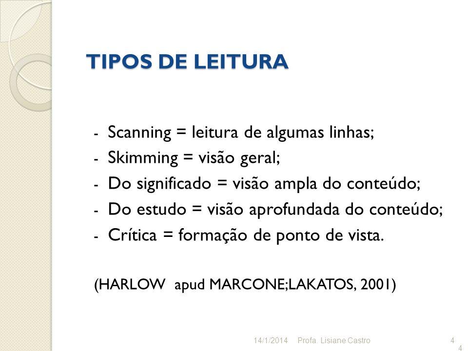 4 TIPOS DE LEITURA - Scanning = leitura de algumas linhas; - Skimming = visão geral; - Do significado = visão ampla do conteúdo; - Do estudo = visão a