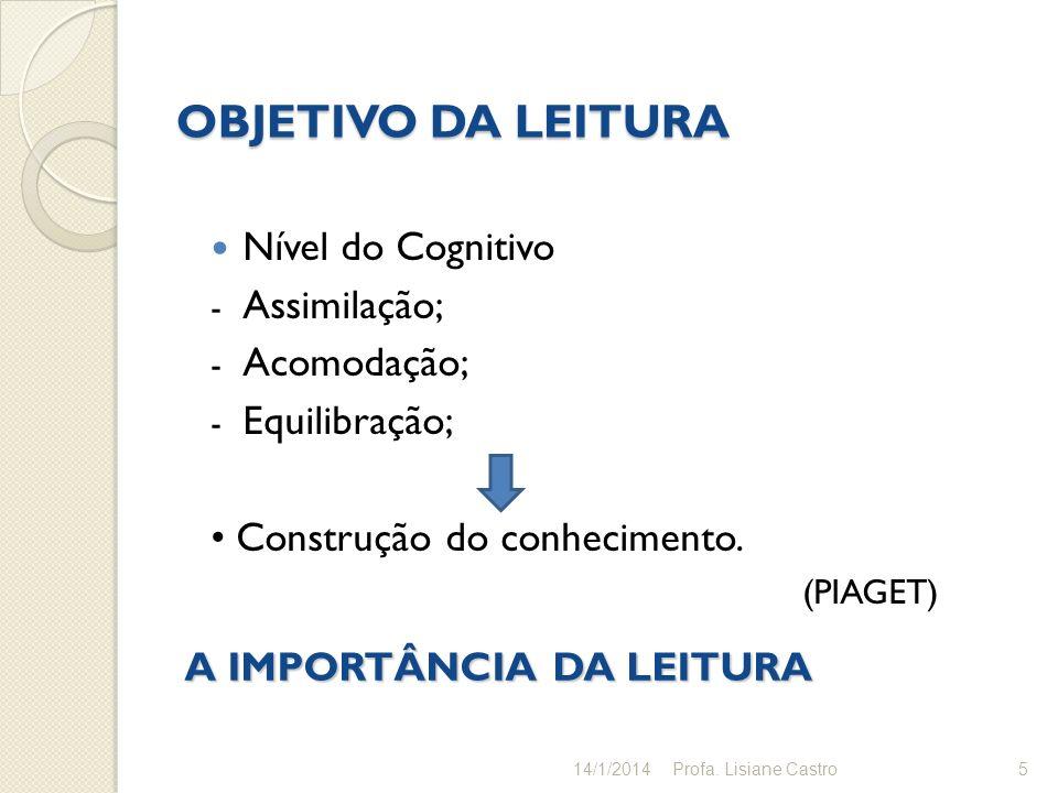 OBJETIVO DA LEITURA Nível do Cognitivo - Assimilação; - Acomodação; - Equilibração; Construção do conhecimento. (PIAGET) 5 A IMPORTÂNCIA DA LEITURA 14