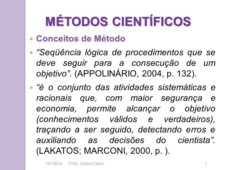 MÉTODOS CIENTÍFICOS Conceitos de Método Seqüência lógica de procedimentos que se deve seguir para a consecução de um objetivo. (APPOLINÁRIO, 2004, p.